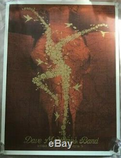 2009 Dave Matthews Band Austin Acl Gold Flower Fire Dancer Concert Poster 10/03