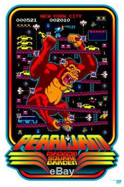 2010 Pearl Jam Nyc Msg 2xl Donkey Kong Concert Poster Ames Bros #/100 5/21 S/n