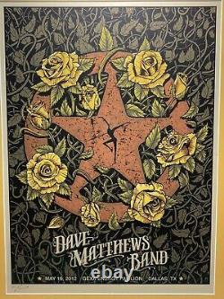 2012 Dave Matthews Band Dallas Tx Ranger Badge Concert Tour Poster 5/19 Limited