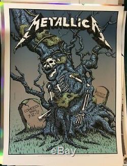 2017 Metallica Detroit Vip Silk Screen Variant Concert Poster 7/12 Ap/30 Signed