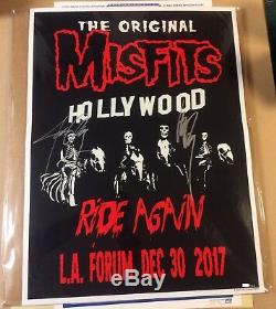 2017 Misfits Los Angeles Autographed Glen Danzig Concert Poster Fairey 12/30