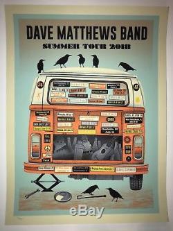 2018 Dave Matthews Band Tour Poster Orange Variant VW Tour Bus DMB Mint