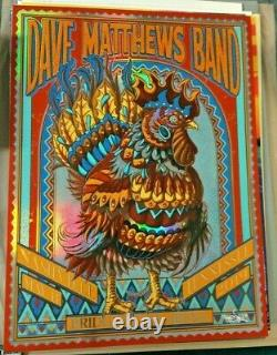 2019 Dave Matthews Band Nashville Rooster Rainbow Foil Concert Poster 5/11 Ap/50