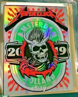 2019 Metallica Amsterdam Vip Silk Screen Foil Concert Poster 6/11 Ap/20 Signed