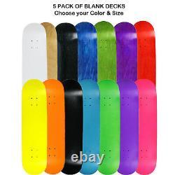 5 Pro Skateboard Decks Blank Choose Your Color + Size (7.75 8.0 8.25 8.5)