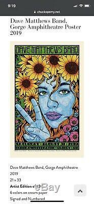 DMB Dave Matthews Band Chuck Sperry Poster Gorge Artist Edition 2019 /100