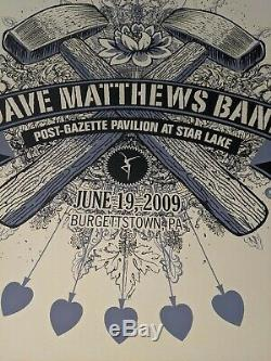 Dave Matthews Band 2009 Burgettstown Post Gazette pavillion 10 of spades poster