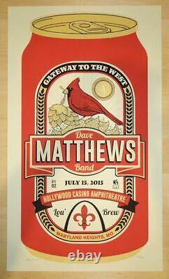 Dave Matthews Band 2015 St Louis STL Cardinals Beer can poster print dmb