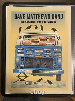 Dave Matthews Band Blue Variant Van 2018 Tour Poster Methane print Excellent