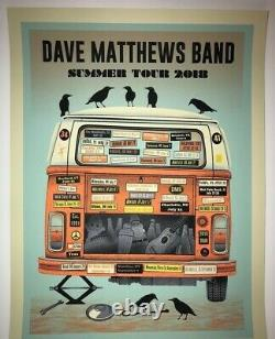 Dave Matthews Band Blue Variant Van 2018 Tour Poster with Poster Number