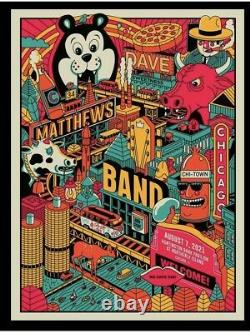 Dave Matthews Band Chicago Poster methane studios art 2021 tour 8/7