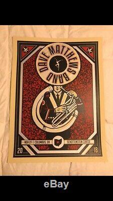 Dave Matthews Band Columbus 11/27/18 Poster Ohio State Buckeyes Sousaphone Tuba