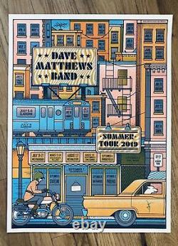 Dave Matthews Band Concert Summer 2019 Tour Poster Orange Variant Taxi City Dog