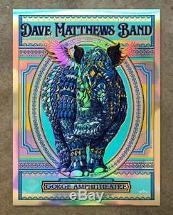 Dave Matthews Band DMB Gorge Quincy WA Poster 2019 Rainbow Foil Bioworkz Kwok