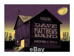 Dave Matthews Band Poster 09 Pelham AL Barn Signed & Numbered #/500 Rare