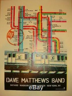 Dave Matthews Band Poster 2009 NYC, NY MSG Signed/#700 Rare! Sold Out