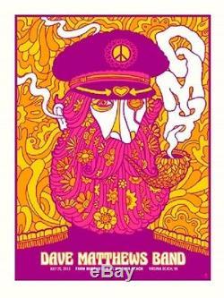 Dave Matthews Band Poster 2013 Virginia Beach VA Peacelove Numbered #/615 Rare