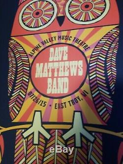 Dave Matthews Band Poster 2015 Alpine Valley N2 Owl Signed #/1155 Methane Mint