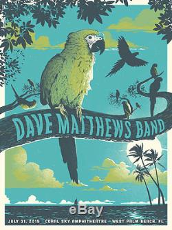 Dave Matthews Band Poster 2015 West Palm Beach N2 Signed & Numbered #/35 A/E