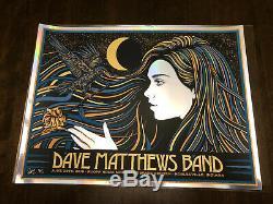 Dave Matthews Band Poster 2019 N2 Noblesville IN SLATER FOIL Deer Creek #/50