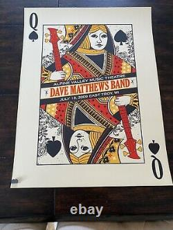 Dave Matthews Band Poster 7/18/2009 Queen Alpine Valley East Troy WI #/1050 Rare