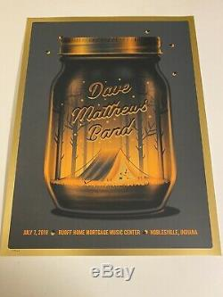 Dave Matthews Band Poster 7/7/2018 Noblesville IN Gold Foil
