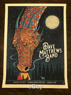 Dave Matthews Band Poster 8/30 2019 Quincy WA Gorge N1 Methane Dragon #/Ed MINT