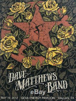 Dave Matthews Band Poster Gexa Energy Dallas 2012 5/19/12