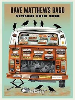 Dave Matthews Band Poster Summer Tour 2018 Print Orange Variant #/1000 In Hand