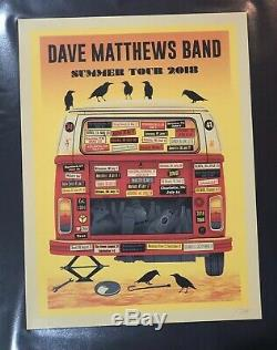 Dave Matthews Band Summer Tour 2018 Poster Artist Edition Signed Methane Red