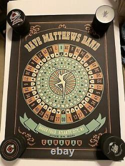Dave Matthews Band poster 06/24/11 Bader Field Atlantic City Roulette Wheel #208