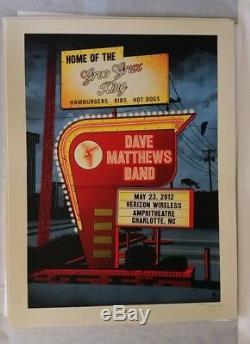 Dave Matthews Band poster Charlotte NC 2012 Signed #ed MINT