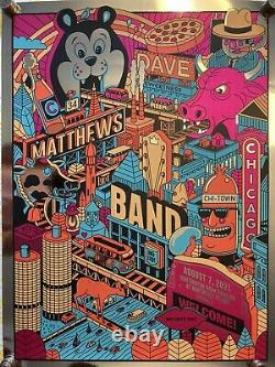 Dave Matthews Tour Band Poster, Chicago 2021 Day 2, Rare Foil, BRAND NEW #95/125