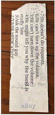 Dave Matthews signed setlist + coa! DMB Dave Matthews Band 1994 handwritten