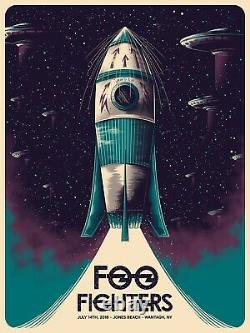 Foo Fighters Poster 7/14/18 Jones Beach NY Signed & Numbered #/50 Artist Edition