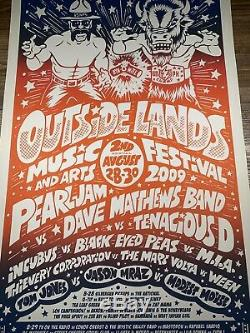 Pearl Jam Outside Lands Festival Show Poster Art Print Ames Bros 2009 DMB Signed
