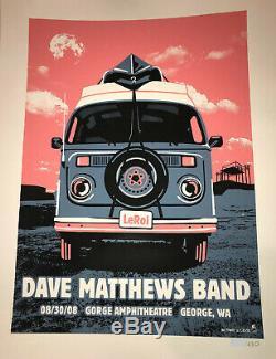 RARE Dave Matthews Band Poster 2008 Gorge N2 DMB VW Van LeRoi Tribute