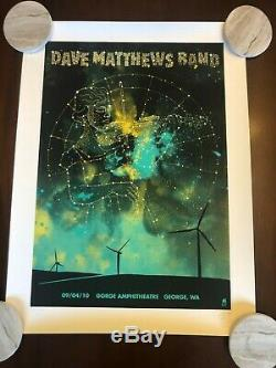 RARE Dave Matthews Band Poster The Gorge 2010, MINT 115/1200 Signed Methane