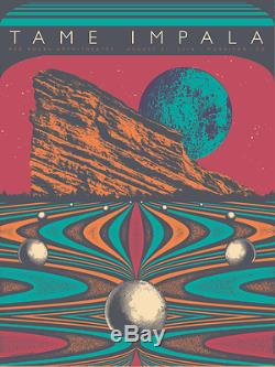 Tame Impala 8/31/2016 Red Rocks Poster Color Variant A/E Signed & Numbered #/35